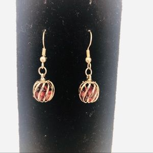 VintageSilver Caged Beads Drop Earrings
